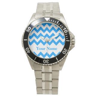 Ljust - djärv sparre för blått med monogramen armbandsur