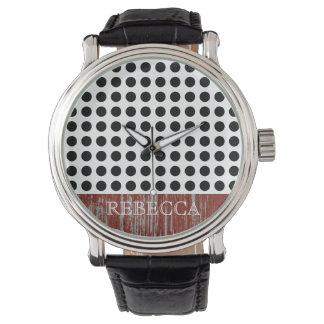 Ljust djärvt svartvitt polka dotsmönster armbandsur