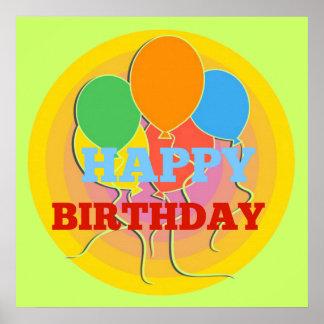 Ljust färgad grattis på födelsedagenballongaffisch print