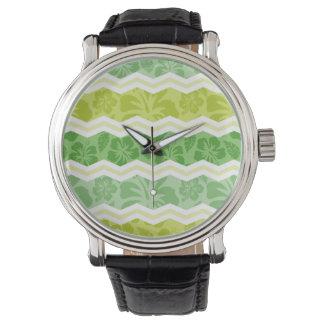 Ljust - göra grön och gulna det gulliga tropiska armbandsur