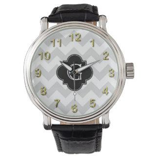 Ljust - grå Quatrefoil för vitsparresvart Monogram Armbandsur
