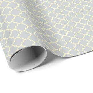 Ljust - grått och beige Quatrefoil mönster Presentpapper