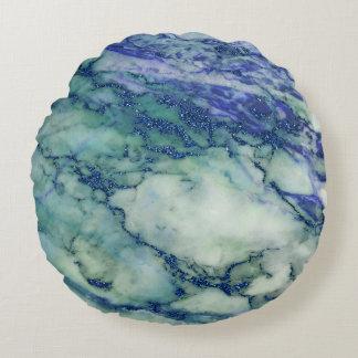 Ljust - grön blåttmarmorstruktur rund kudde