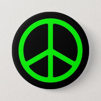 Ljust - grön fredstecken på svart Pinback Mellanstor Knapp Rund 7.6 Cm