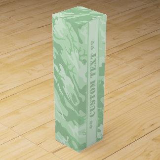Ljust - gröna Camo med beställnings- text Presentask För Vinflaska