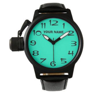 Ljust - grönt och ditt egna namn armbandsur