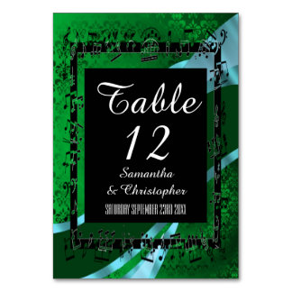 Ljust - grönt, svart damast bordsnummer