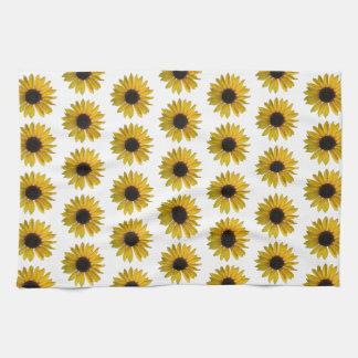 Ljust gult solrosmönster kökshandduk