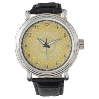Ljust gultOm-symbol Armbandsur