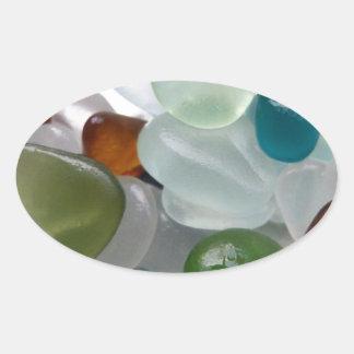Ljust havsexponeringsglas ovalt klistermärke