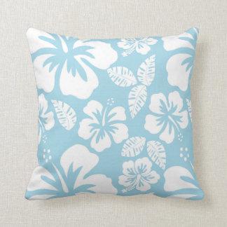 Ljust - hawaiansk tropisk hibiskus för blått kudde
