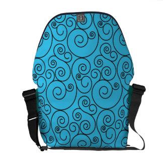 Ljust medel - spiral messenger bag för blått