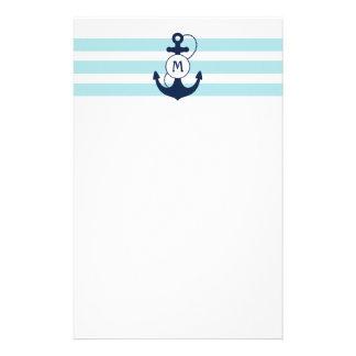 Ljust - nautiska blått ankrar med monogramen brevpapper