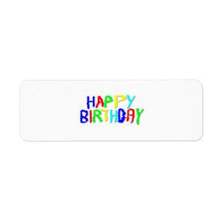 Ljust och färgrikt. Lycklig Birthday. Returadress Etikett