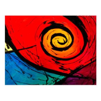Ljust rött virvlar runt abstrakt Groovy konst Vykort