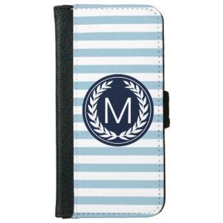 Ljust - slösa randen med monogramen för iPhone 6/6s plånboksfodral