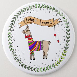 Llamadramaemblem, regnbågeLlama Jumbo Knapp Rund 15.2 Cm