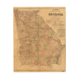 Lloyds topografiska karta av Georgia (1864) Trätavla