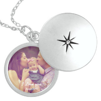 Locket för familjminnessakfoto sterling silver halsband