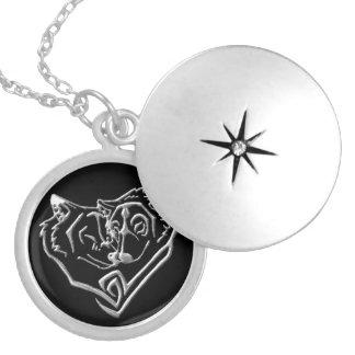 Locket för runda för vargälskare silver pläterad halsband med rund berlock