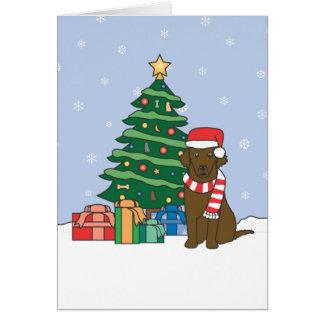 Lockig-Jackad Retriever och julgran Hälsningskort