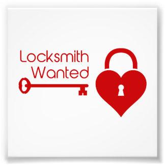 Locksmithen önskade valentin daghjärta låser fototryck