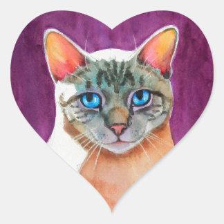 Lodjuret pekar den Siamese katten på Hjärtformat Klistermärke