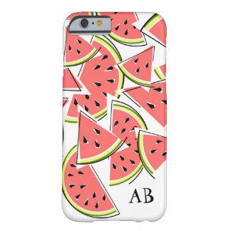 """Lodrät för fodral för vattenmelon""""Monogram"""" iPhone Barely There iPhone 6 Skal"""