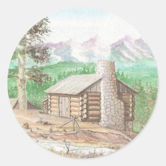 Logga kabinen i skogen runt klistermärke