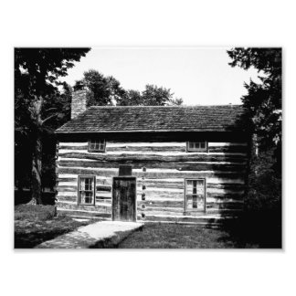 Logga kabinen i svartvitt fototryck