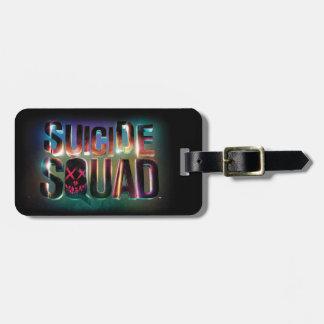 Logotyp för glöd för självmordSquad | färgrik Bagagebricka