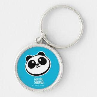 Logotyp för Purveyors för Panda för självmordSquad Rund Silverfärgad Nyckelring