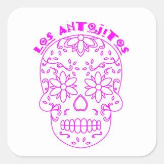 Logotyp för rosasockerskalle fyrkantigt klistermärke