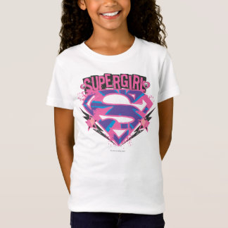Logotyp för Supergirl rosa- och lilaGrunge T Shirts