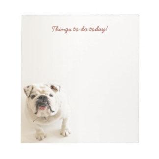 Lojala vitbulldoggsaker som i dag gör anteckningsblock
