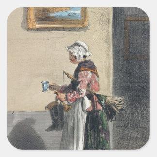 Lokalvårddamen, från 'Les Femmes de Paris Fyrkantigt Klistermärke