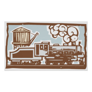 Lokomotiv- och vattentorn affischer