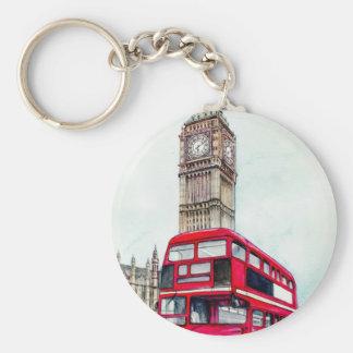 London buss och stora Ben Rund Nyckelring