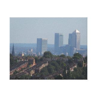 London Cityscape - kanariefågelhamnplatsfoto Canvastryck