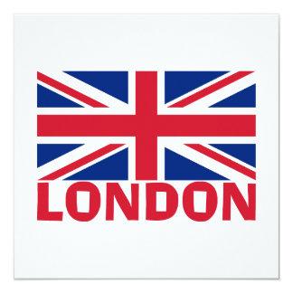 London i rött fyrkantigt 13,3 cm inbjudningskort