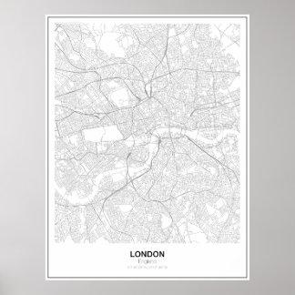 London Minimalist kartaaffisch (stil 2) Poster