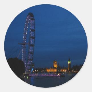 London öga och stora Ben Runt Klistermärke