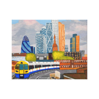 London overland tåg-Hoxtonstation Canvastryck