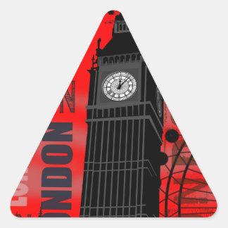 London reser stora Ben röda moderna Collage Triangelformat Klistermärke