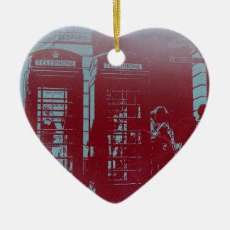 London ringer båset hjärtformad julgransprydnad i keramik