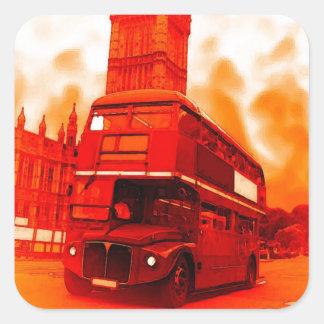 London röd buss & den stora Benen Fyrkantigt Klistermärke