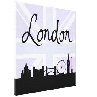 London skrivar på facklig jackhimmel & placerar canvastryck