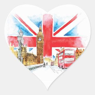 London stora Ben hjärtaklistermärkear som är Hjärtformat Klistermärke