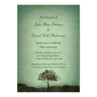 Lone bröllop för trädhavsgrönt 12,7 x 17,8 cm inbjudningskort
