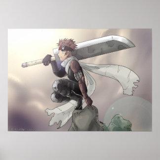 Lone krigare som tittar himmlen poster